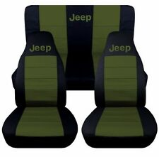 Front and Rear Black and Hunter Green Jeep Seat Covers. Jeep Cherokee