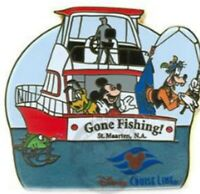 Disney Pin 57360 DCL Shore Excursion Series Mickey Pluto Goofy Gone Fishing LE