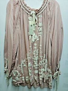 Lucky Brand Women's Plus Size 3X  Blouse Long Sleeve Peasant