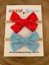 Nylon hair bow headband set hand tied newborn baby girls stretchy red heart blue