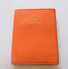 Fossil Olivia Passport Case- Hot Coral Orange  -gray lining- small airplane