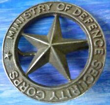 Badge- VINTAGE Ministry of Defence Security Corps BROOCH Badge (Silver/WM*) RARE