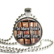 BOOK Pendant Necklace,Gift for Book Lover, Handmade Glass Photo Art Necklace
