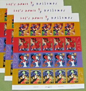 Three Sheets x 20 = 60 of LET'S DANCE BAILEMOS 37¢ US USA Stamps. Sc # 3939-3942