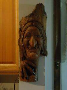 Handmade Wood Spirit Carving Rustic Folk Art Witch With Crystal Ball Cottonwood