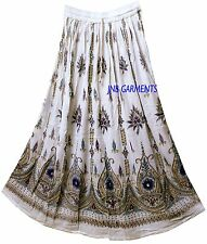 Womens Indian Sequin Crinkle Broomstick Long Skirt Boho Vtg Ethnic Hippie Gypsy