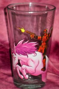 DEADPOOL RIDING A UNICORN Pint Drinking Glass MARVEL COLLECTIBLE