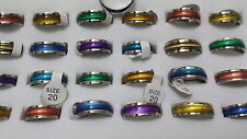10 X Unisex Cat eye Rainbow stainless steel fashion rings lots ring wholesale
