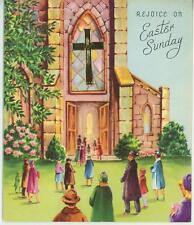VINTAGE GORGEOUS CHURCH FLOWER GARDEN CHURCH PEW WINDOW EASTER SUNDAY CARD PRINT