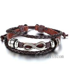 Love Infinity Friendship Charm Multi-layer Leather Men Women Adjustable Bracelet
