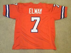 UNSIGNED CUSTOM Sewn Stitched John Elway Old Time Orange Jersey - M, L, XL, 2XL