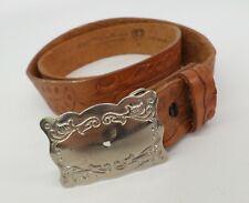 Tooled Leather Western Belt 36 Steerhide Acorn Distressed Brown Vtg Made in USA