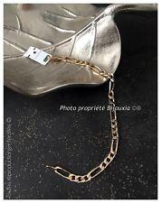 Bracelet Maille Figaro 21 cm x 5 mm Plaqué or 18 Carats 750/1000 Bijoux