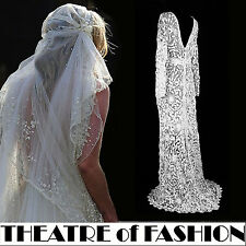 VINTAGE DRESS WEDDING LACE CROCHET 10 12 14 16 BOHO VICTORIAN HIPPY 30s VAMP