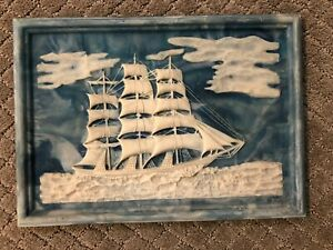 """Vintage Blue Genuine Incolay Stone Ships Nautical Handcrafted Picture 12""""X8.5"""""""