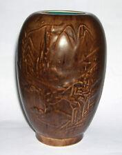 Vintage Canada Goose Pottery - Dark Brown Woodgrain Vase with Blue Interior.
