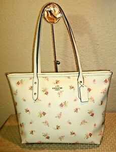 Coach City Zip Tote Gorgeous Daisy Bundle Print in Chalk Shoulder Bag Near MINT!