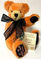"""Hermann Limited Edition Orange Teddy Bear Goes Halloween 11"""" Mohair Bear"""