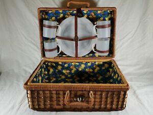 Vintage Wicker Picnic Hamper, Wicker Basket, With Cups X 4 & Plates X 4.
