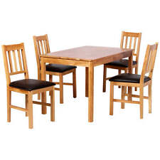 Solid Oak Finish Dining Table and Chair Set with 4 Seats