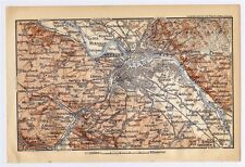 1897 ORIGINAL ANTIQUE MAP OF DRESDEN VICINITY / SAXONY GERMANY