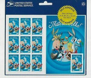 Porky Pig Sheet of Ten 34 Cent Postage Stamps Scott 3534 VF