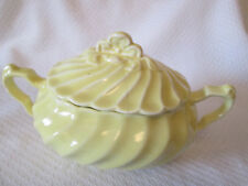 Vintage California Pottery Sugar Bowl and Cover Yellow  Swirl Pattern