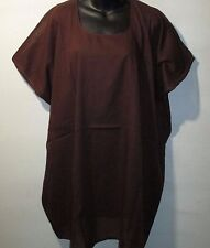 Top Fits L XL 1X 2X 3X 4X Plus Brown Soft Cotton Caftan Long Tunic NWT G010