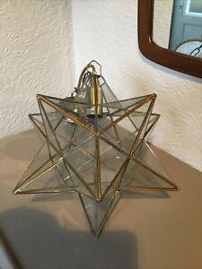 Vintage Morvian Star Glass & Gold Leaded Ceiling Pendant Light #6476