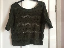 Ladies Dark Green Crochet Jumper from Primark Size 6