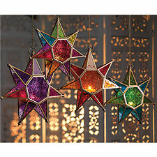 MOROCCAN STYLE STAR HANGING GLASS LANTERN TEALIGHT HOLDER INDOOR OR OUTDOOR USE