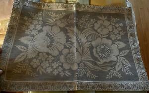 WILLIAMS SONOMA VINTAGE FLORAL JACQUARD Placemats S/4 Blue Linen Cotton New ‼️
