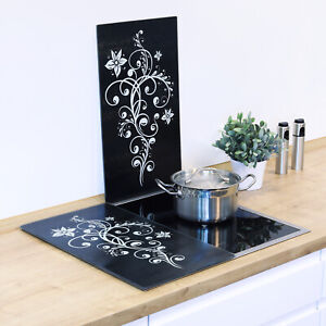 2x Abdeckplatte Glas Füße Schneidebrett Ceranfeld Abdeckung Herdabdeckung Floral