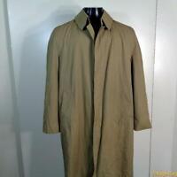 MISTY HARBOR Vtg Long RAINCOAT Rain Trench Coat Mens Size S 38 khaki liner