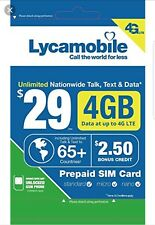 4G Lycamobile At&T T-mobile any unlocked phone 4G Nano Micro 3 in 1 Sim Card