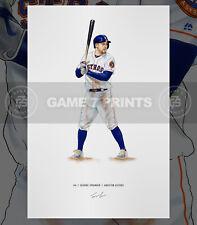 George Springer Houston Astros Baseball Illustrated Print Poster Art