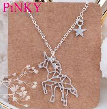 Unicorn Silver Tone Chain Necklace Star Pendant UK SELLER