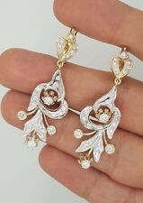 RUSSIAN STYLE 14K YELLOW GOLD & WHITE GOLD HANGING DIAMOND DROP LONG EARRINGS