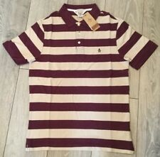 Mens Penuguin Heritage Slim Fit Polo Striped  Wine Mauve Size Small T Shirt Tee