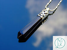 Black Onyx Crystal Long Point Pendant Natural Gemstone Necklace Healing Stone
