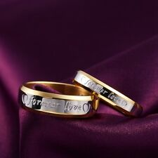 """forever love"" Carve Stainless Steel Couple Ring Gold Plated Wedding Band Sz6-10"