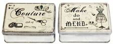 Assorted Design Metal Sewing Tin Storage Box Gift Jewellery Buttons Shabby Chic