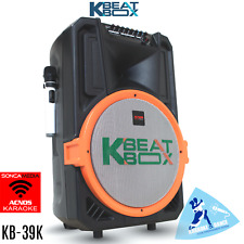 KB-39K KBEAT BOX POWERED KARAOKE SYSTEM SPEAKER WITH 2 WIRELESS MICS - 100WATTS