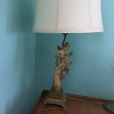 Rare Vintage MCM Frosted Painted Cast Metal Angel Cherub Lamp With Lyre