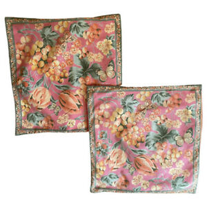 April Cornell Floral/Butterfly Set of 2 Square PIllow Covers