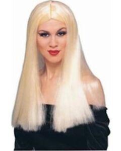 """Femmes Adulte 24 """" Pouce Long Droit Blond Costume Sorcière Perruque"""
