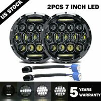 2X 7Inch Round 280W Total LED Headlights Hi/Lo for 97-17 JEEP JK TJ LJ Wrangler