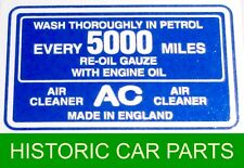 "Triumph TR2 1953-55 - ""AC"" TRANSFER STICKER for HS4 SU Carb Air Cleaner"
