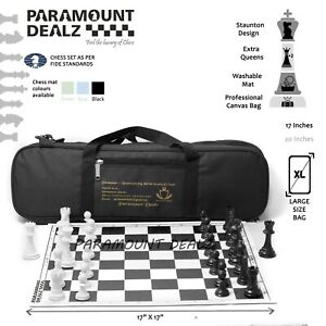 Tournament Staunton Roll On Vinyl Chess Set with Extra Queens and Travel Bag