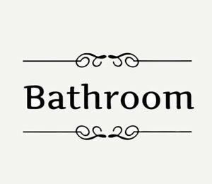 "NEW 10.75"" x 4"" Bathroom Wall / Door Black Vinyl Decal Sign With Scroll Trim"